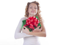 Young woman holding present Stock Photos