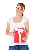 Young woman holding present Stock Photography