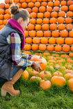 Young woman holding pumpkin Royalty Free Stock Images