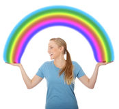 Young woman holding rainbow royalty free stock photography