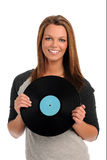 Young Woman Holding Record Stock Image