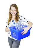 Young woman holding recycling box Royalty Free Stock Photography