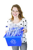Young woman holding recycling box Royalty Free Stock Image
