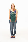 Young woman holding recycling container Stock Photo