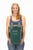 Young woman holding recycling container Stock Photos
