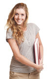 Young woman holding red book Royalty Free Stock Photography