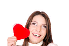 Young woman holding a red heart Stock Photo