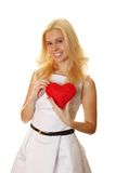 Young woman holding red heart Stock Photos