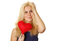 Young woman holding red heart Royalty Free Stock Photography