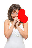 Young woman holding red paper heart Stock Photography