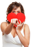 Young woman holding red paper heart Stock Photo