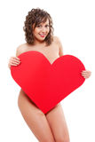 Young woman holding red paper heart Royalty Free Stock Photo