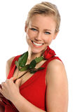 Young Woman Holding Red Rose Royalty Free Stock Image