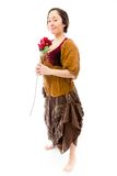 Young woman holding red rose Royalty Free Stock Photography
