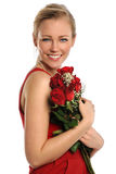 Young Woman Holding Red Roses Royalty Free Stock Photos