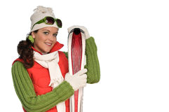 Young woman holding red skis Stock Photo
