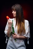 Young woman holding red tulip in studio Royalty Free Stock Image