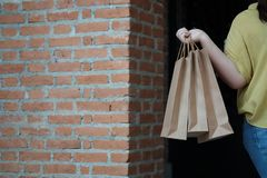 Young woman holding sale shopping bags. stock images