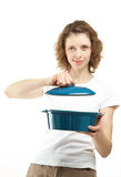 Young woman holding saucepan Royalty Free Stock Image