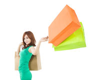 Young woman holding shopping bag Stock Image