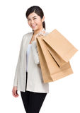 Young woman holding shopping bag  Royalty Free Stock Images