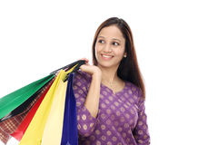 Young woman holding shopping bags Royalty Free Stock Image