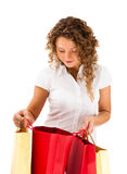Young woman holding shopping bags Royalty Free Stock Images