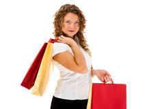 Young woman holding shopping bags  Stock Photos