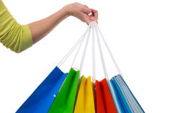 Young woman holding shopping bags in her hand Royalty Free Stock Images