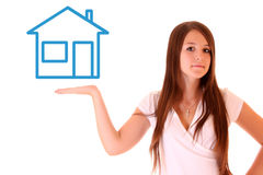 Young woman  holding   showing house Stock Photo