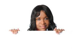Young Woman Holding Sign stock photos