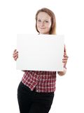 Young woman holding sign Royalty Free Stock Photo