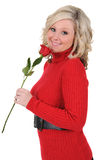 Young Woman Holding a Single Rose Royalty Free Stock Photography