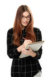 Young woman holding sketchbook Stock Image