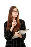 Young woman holding sketchbook Royalty Free Stock Image