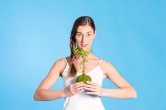 Young Woman holding a small tree Royalty Free Stock Photos