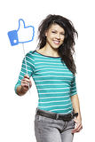 Young woman holding a social media sign smiling. On white background Royalty Free Stock Images