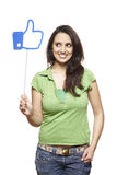 Young woman holding a social media sign smiling. On white background Royalty Free Stock Image