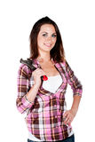 Young woman holding spanner Stock Photo