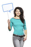 Young woman holding a speech bubble sign smiling Royalty Free Stock Images