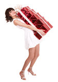 Young woman holding stack  gift box. Royalty Free Stock Photo