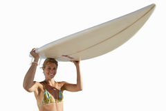 Young woman holding surfboard, cut out Royalty Free Stock Photo