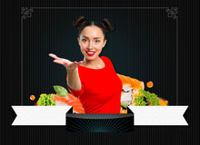 Young woman holding sushi Royalty Free Stock Image