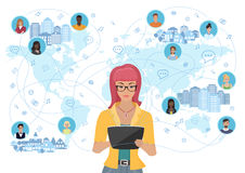 Young woman holding a tablet and communicating people all over the world. Social network and social media concept. Royalty Free Stock Image
