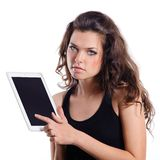 Young woman holding a tablet compute Royalty Free Stock Photography