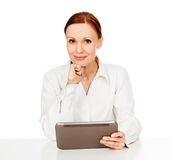 Young woman holding tablet computer Royalty Free Stock Photos