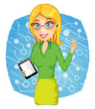 Young Woman Holding Tablet PC Royalty Free Stock Images