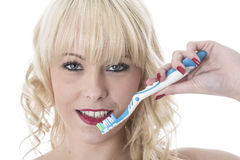 Young Woman Holding Tooth Brush Brushing Teeth. Attractive Young Woman Holding Tooth Brush Brushing Teeth Royalty Free Stock Photo