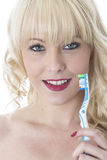 Young Woman Holding Tooth Brush  Brushing Teeth. Attractive Young Woman Holding Tooth Brush  Brushing Teeth Stock Images