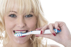 Young Woman Holding Tooth Brush Brushing Teeth Royalty Free Stock Image